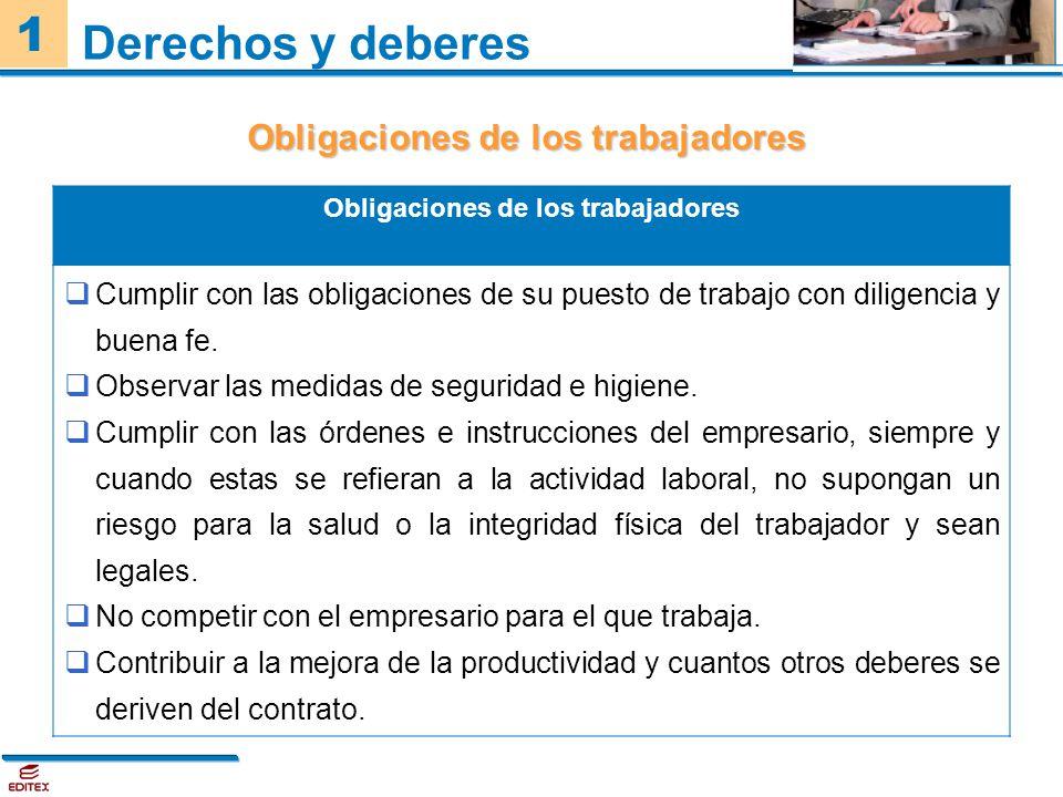 1 Derechos y deberes Obligaciones de los trabajadores Cumplir con las obligaciones de su puesto de trabajo con diligencia y buena fe. Observar las med