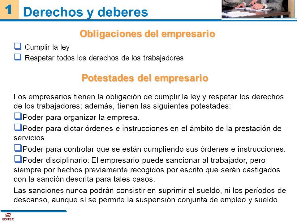 1 Cumplir la ley Respetar todos los derechos de los trabajadores Derechos y deberes Obligaciones del empresario Potestades del empresario Los empresar