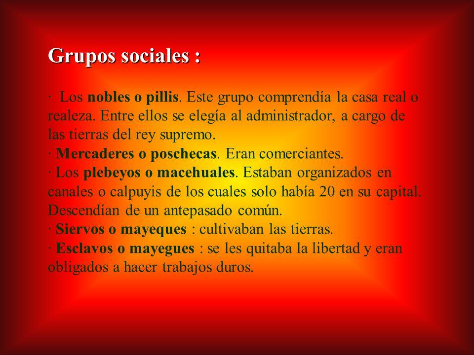 Grupos sociales : · Los nobles o pillis.Este grupo comprendía la casa real o realeza.