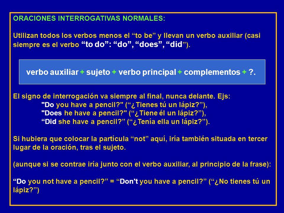 ORACIONES NEGATIVAS ANÓMALAS: El verbo auxiliar es siempre to be (que también es al mismo tiempo el principal, o sea, va solo). Se emplea en frases de