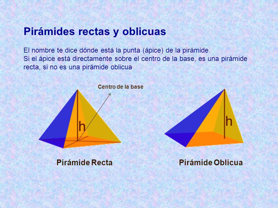 Pirámides rectas y oblicuas El nombre te dice dónde está la punta (ápice) de la pirámide. Si el ápice está directamente sobre el centro de la base, es