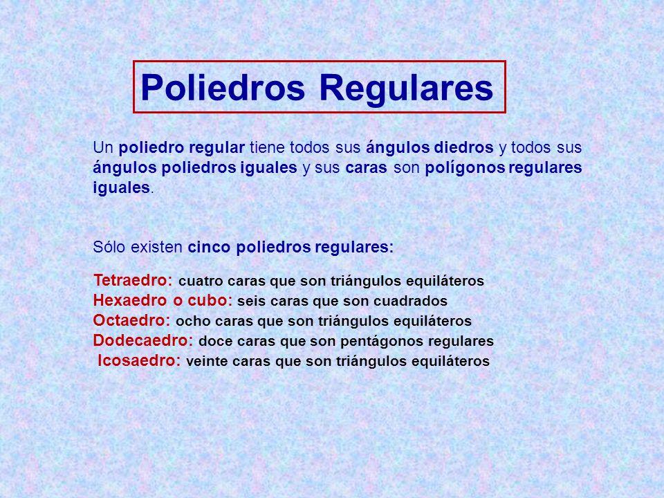 Poliedros Regulares Un poliedro regular tiene todos sus ángulos diedros y todos sus ángulos poliedros iguales y sus caras son polígonos regulares igua