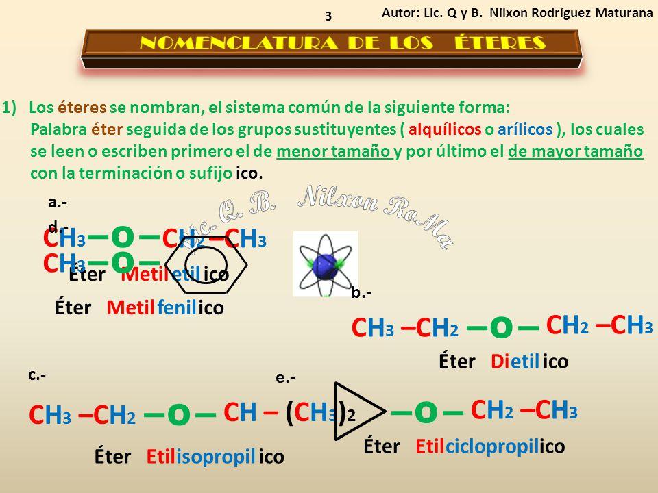 3 1) Los éteres se nombran, el sistema común de la siguiente forma: Palabra éter seguida de los grupos sustituyentes ( alquílicos o arílicos ), los cu