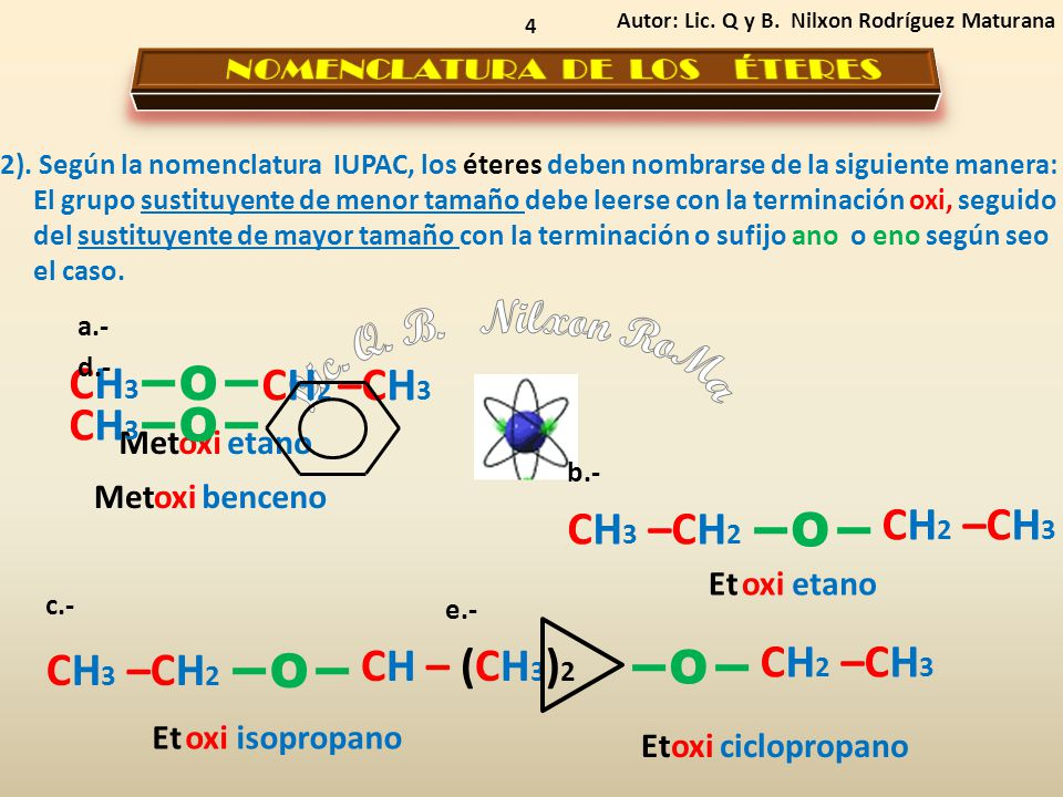 4 2). Según la nomenclatura IUPAC, los éteres deben nombrarse de la siguiente manera: El grupo sustituyente de menor tamaño debe leerse con la termina