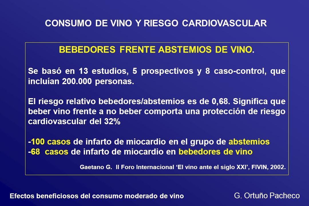Efectos beneficiosos del consumo moderado de vino G. Ortuño Pacheco CONSUMO DE VINO Y RIESGO CARDIOVASCULAR BEBEDORES FRENTE ABSTEMIOS DE VINO. Se bas