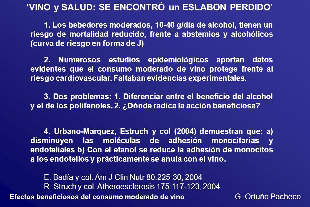 Efectos beneficiosos del consumo moderado de vino G. Ortuño Pacheco VINO y SALUD: SE ENCONTRÓ un ESLABON PERDIDO 1. Los bebedores moderados, 10-40 g/d
