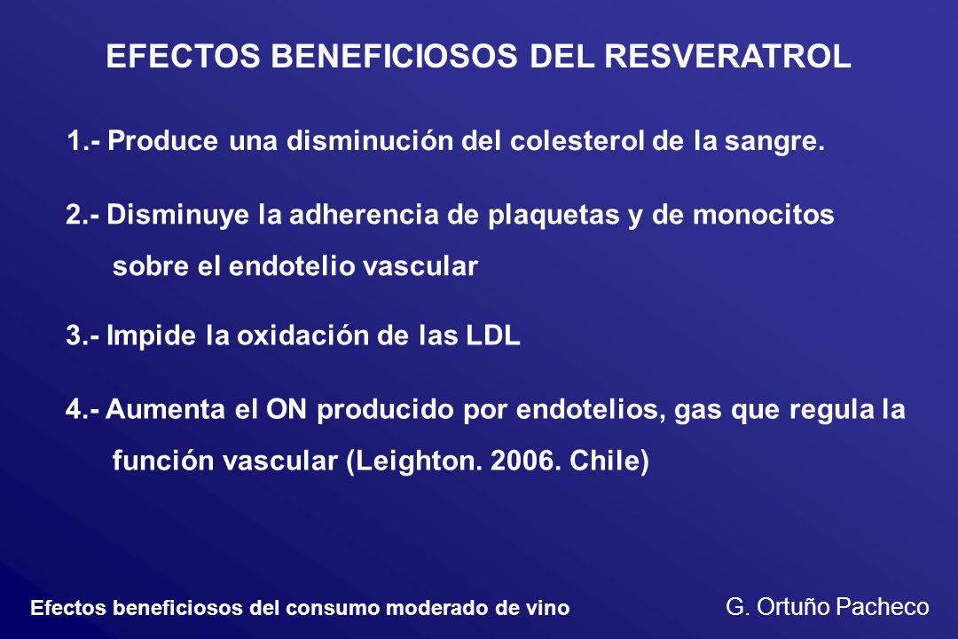Efectos beneficiosos del consumo moderado de vino G. Ortuño Pacheco EFECTOS BENEFICIOSOS DEL RESVERATROL 1.- Produce una disminución del colesterol de