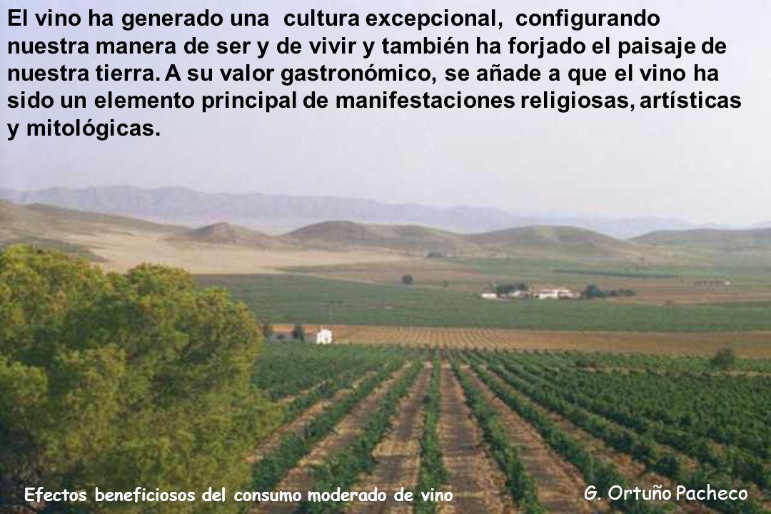 Efectos beneficiosos del consumo moderado de vino G. Ortuño Pacheco El vino ha generado una cultura excepcional, configurando nuestra manera de ser y