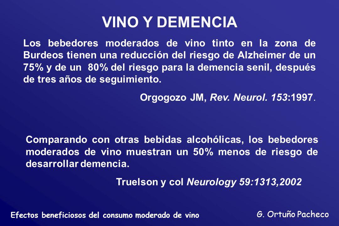 Efectos beneficiosos del consumo moderado de vino G. Ortuño Pacheco VINO Y DEMENCIA Los bebedores moderados de vino tinto en la zona de Burdeos tienen
