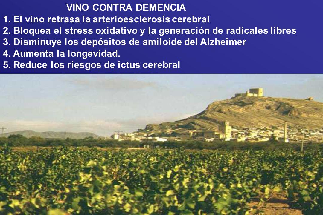 VINO CONTRA DEMENCIA 1. El vino retrasa la arterioesclerosis cerebral 2. Bloquea el stress oxidativo y la generación de radicales libres 3. Disminuye