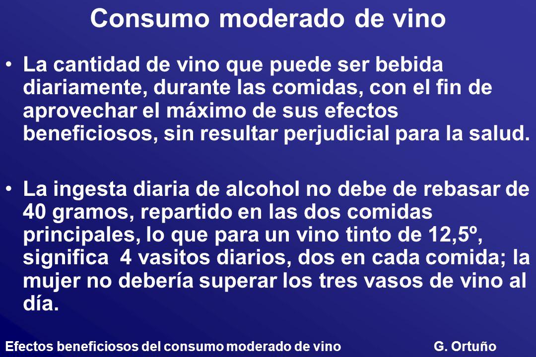 Consumo moderado de vino La cantidad de vino que puede ser bebida diariamente, durante las comidas, con el fin de aprovechar el máximo de sus efectos