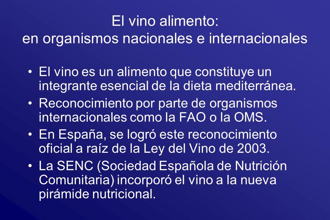 El vino alimento: en organismos nacionales e internacionales El vino es un alimento que constituye un integrante esencial de la dieta mediterránea. Re