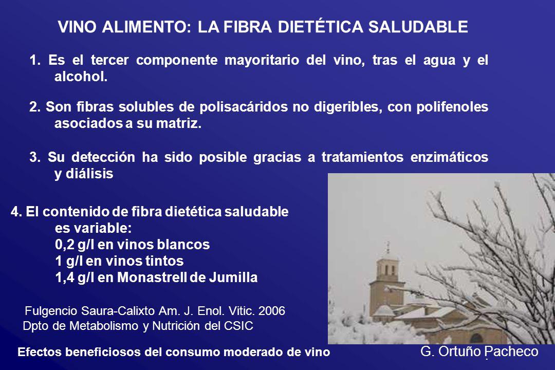 Efectos beneficiosos del consumo moderado de vino G. Ortuño Pacheco VINO ALIMENTO: LA FIBRA DIETÉTICA SALUDABLE 1. Es el tercer componente mayoritario