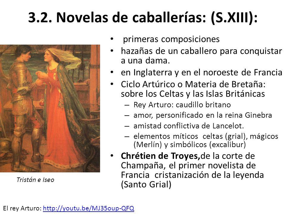 3.2. Novelas de caballerías: (S.XIII): primeras composiciones hazañas de un caballero para conquistar a una dama. en Inglaterra y en el noroeste de Fr