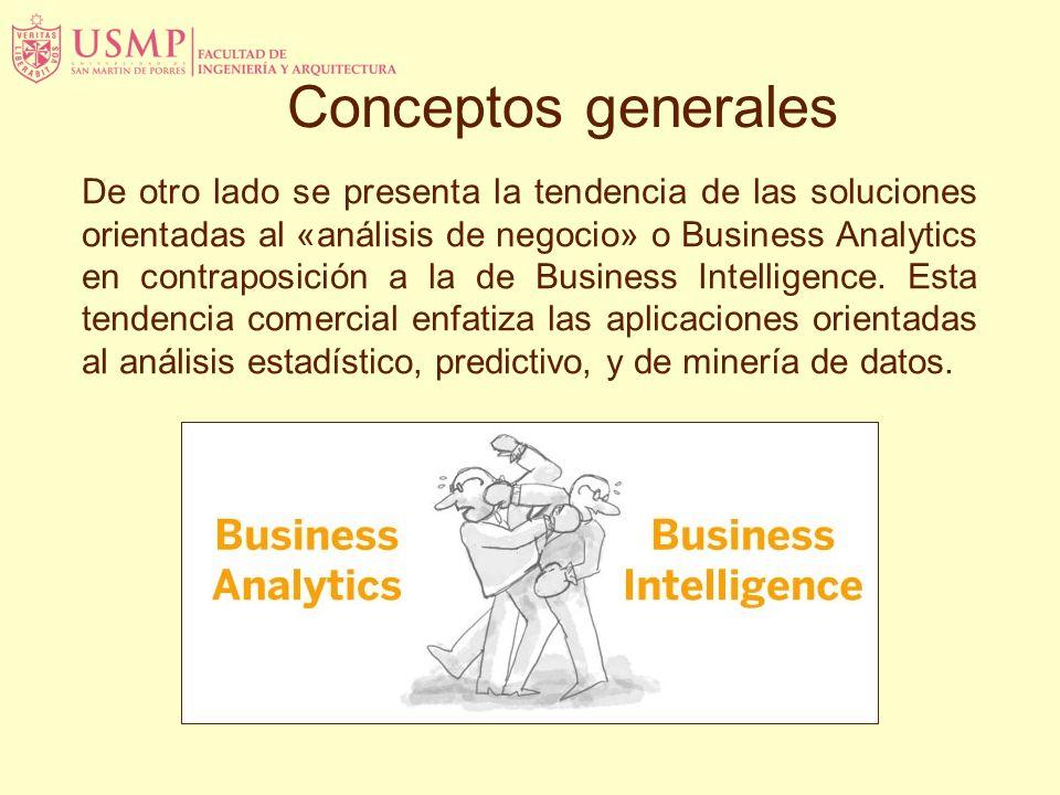 Conceptos generales De otro lado se presenta la tendencia de las soluciones orientadas al «análisis de negocio» o Business Analytics en contraposición a la de Business Intelligence.