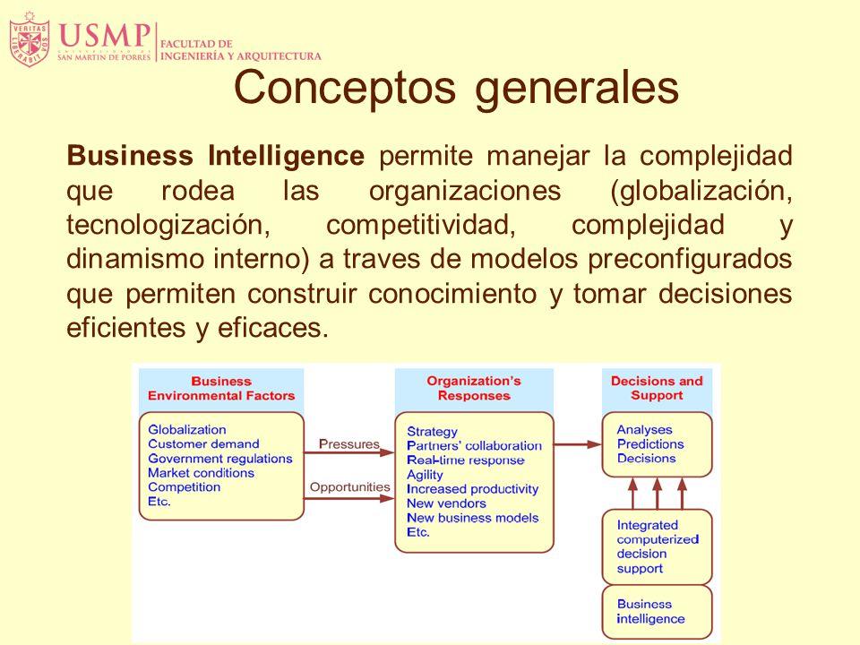 Business Intelligence permite manejar la complejidad que rodea las organizaciones (globalización, tecnologización, competitividad, complejidad y dinamismo interno) a traves de modelos preconfigurados que permiten construir conocimiento y tomar decisiones eficientes y eficaces.