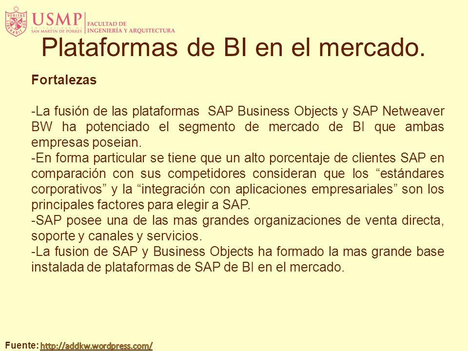 Fortalezas -La fusión de las plataformas SAP Business Objects y SAP Netweaver BW ha potenciado el segmento de mercado de BI que ambas empresas poseian.