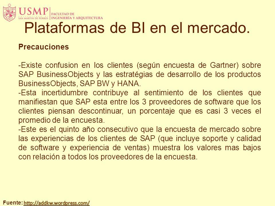 Precauciones -Existe confusion en los clientes (según encuesta de Gartner) sobre SAP BusinessObjects y las estratégias de desarrollo de los productos BusinessObjects, SAP BW y HANA.