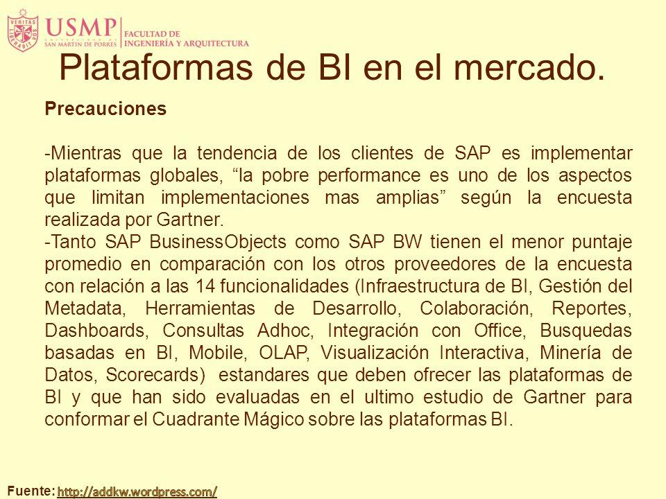 Precauciones -Mientras que la tendencia de los clientes de SAP es implementar plataformas globales, la pobre performance es uno de los aspectos que limitan implementaciones mas amplias según la encuesta realizada por Gartner.