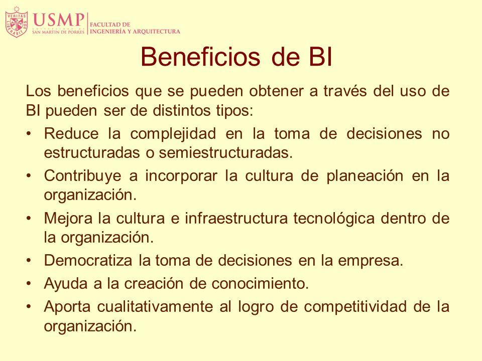 Beneficios de BI Los beneficios que se pueden obtener a través del uso de BI pueden ser de distintos tipos: Reduce la complejidad en la toma de decisiones no estructuradas o semiestructuradas.