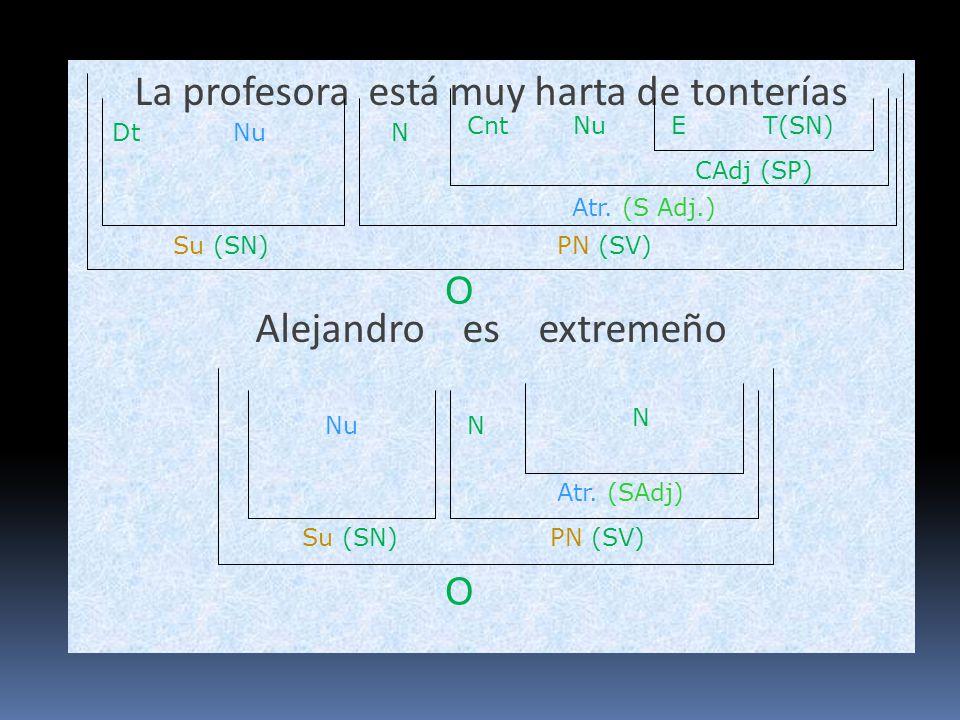 La profesora está muy harta de tonterías Alejandro es extremeño O Su (SN)PN (SV) DtNu Atr. (S Adj.) NuCnt N O Su (SN) Atr. (SAdj) N PN (SV) Nu N CAdj