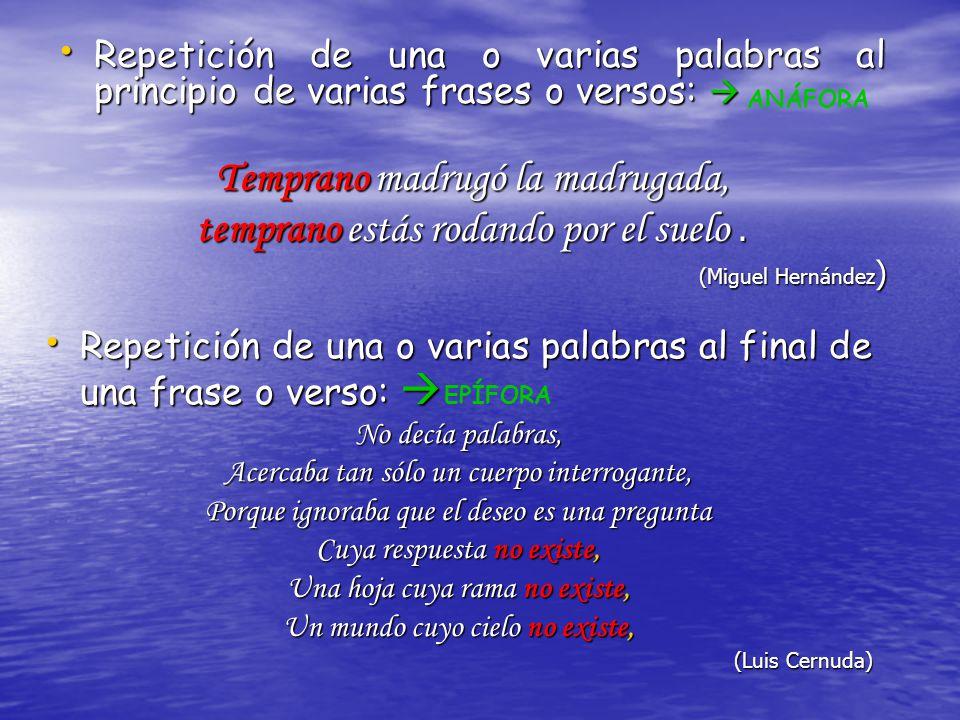 Repetición de una o varias palabras al principio de varias frases o versos: Repetición de una o varias palabras al principio de varias frases o versos