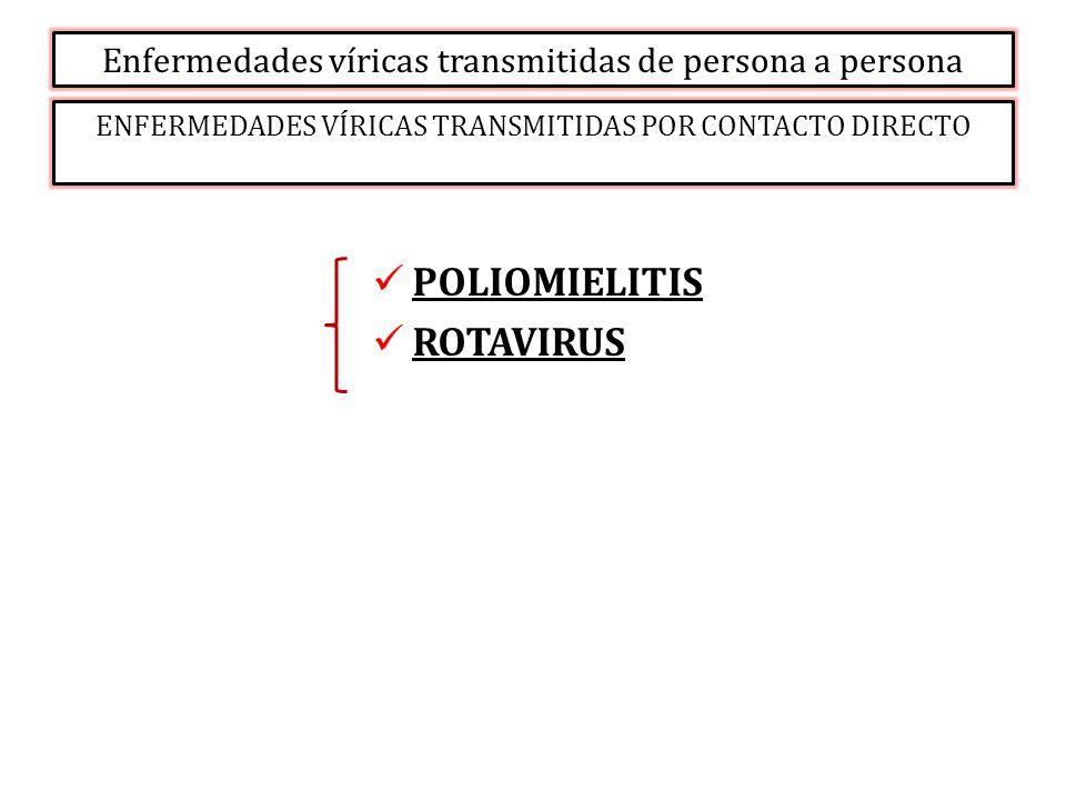 Enfermedades víricas transmitidas de persona a persona ENFERMEDADES VÍRICAS TRANSMITIDAS POR CONTACTO DIRECTO POLIOMIELITIS ROTAVIRUS
