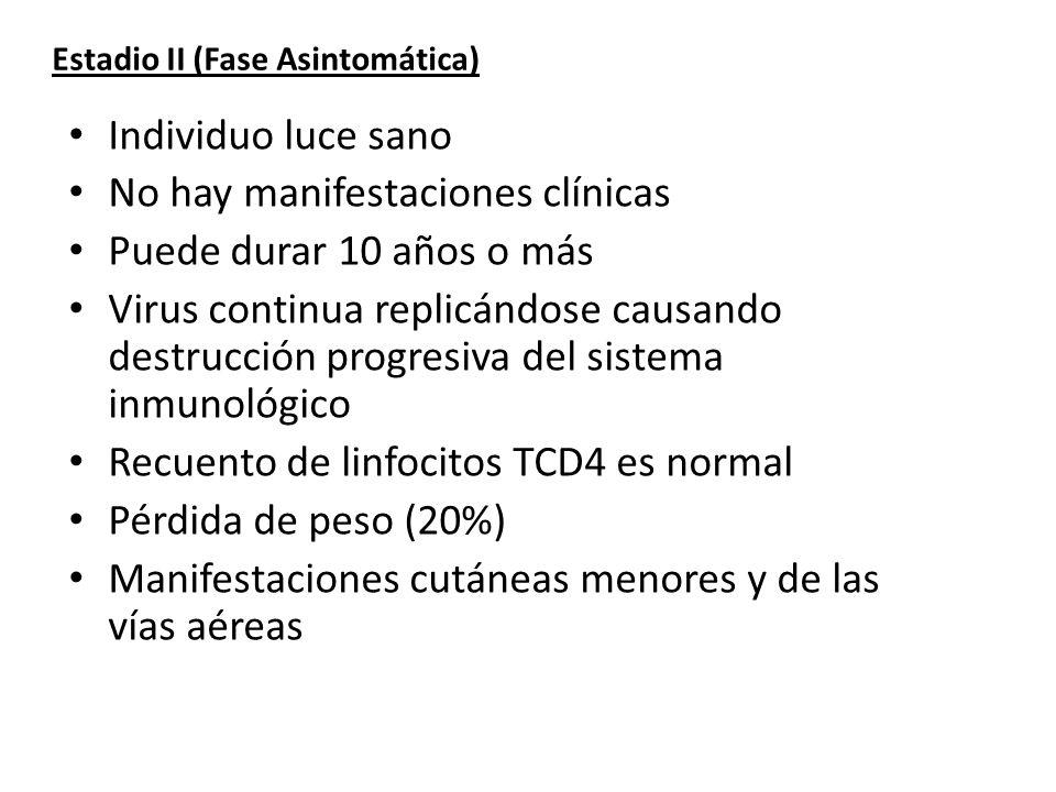 Estadio II (Fase Asintomática) Individuo luce sano No hay manifestaciones clínicas Puede durar 10 años o más Virus continua replicándose causando dest