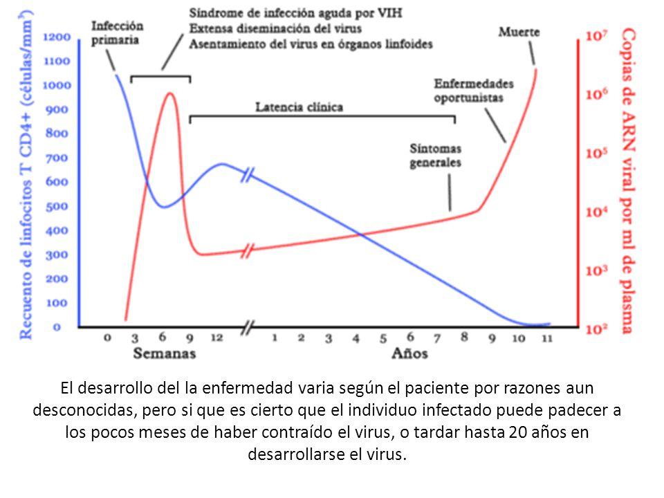 El desarrollo del la enfermedad varia según el paciente por razones aun desconocidas, pero si que es cierto que el individuo infectado puede padecer a