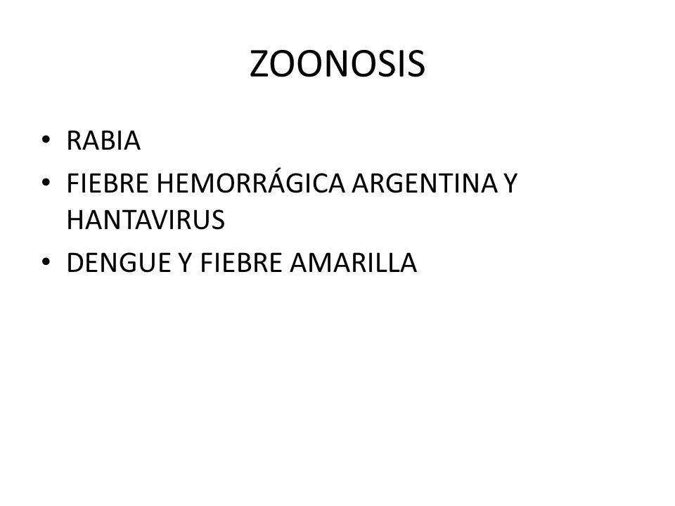 ZOONOSIS RABIA FIEBRE HEMORRÁGICA ARGENTINA Y HANTAVIRUS DENGUE Y FIEBRE AMARILLA