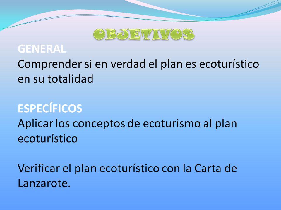 GENERAL Comprender si en verdad el plan es ecoturístico en su totalidad ESPECÍFICOS Aplicar los conceptos de ecoturismo al plan ecoturístico Verificar el plan ecoturístico con la Carta de Lanzarote.