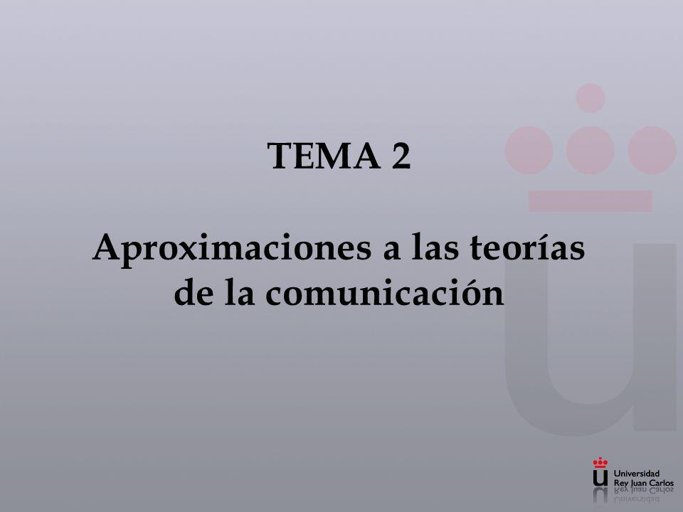 Tema 2.Aproximaciones a las teorías de la comunicación 1.