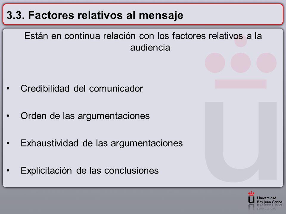 3.3. Factores relativos al mensaje Están en continua relación con los factores relativos a la audiencia Credibilidad del comunicador Orden de las argu