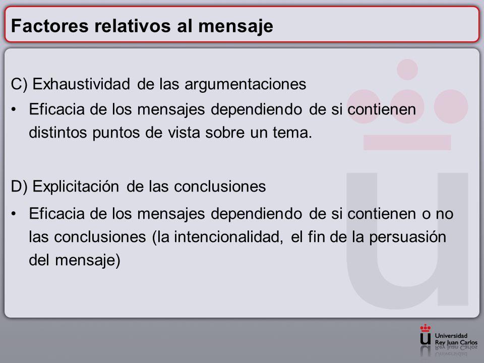 Factores relativos al mensaje C) Exhaustividad de las argumentaciones Eficacia de los mensajes dependiendo de si contienen distintos puntos de vista s