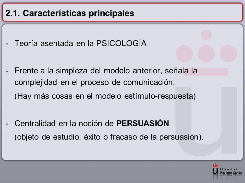 2.1. Características principales -Teoría asentada en la PSICOLOGÍA -Frente a la simpleza del modelo anterior, señala la complejidad en el proceso de c