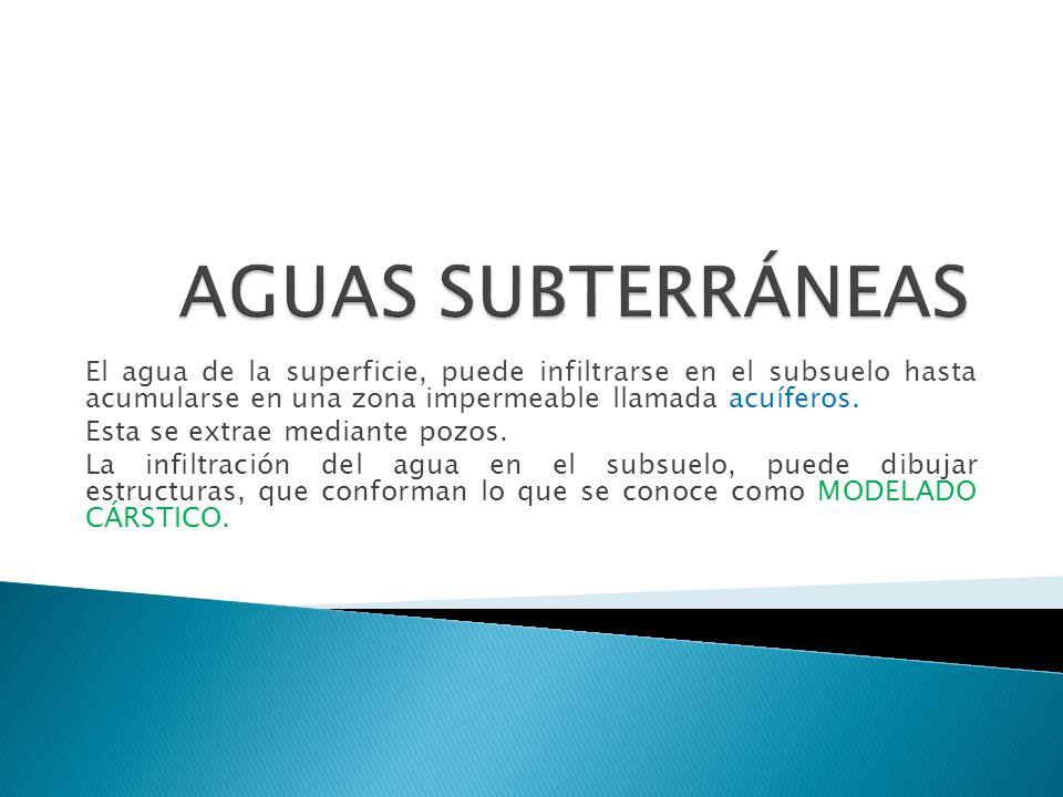 El agua de la superficie, puede infiltrarse en el subsuelo hasta acumularse en una zona impermeable llamada acuíferos. Esta se extrae mediante pozos.