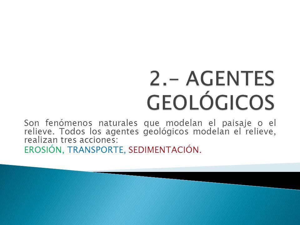 Son fenómenos naturales que modelan el paisaje o el relieve. Todos los agentes geológicos modelan el relieve, realizan tres acciones: EROSIÓN, TRANSPO