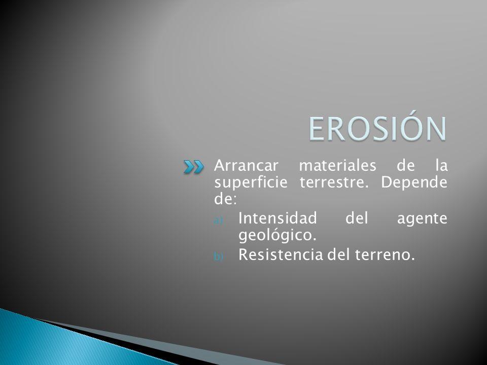 Arrancar materiales de la superficie terrestre. Depende de: a) Intensidad del agente geológico. b) Resistencia del terreno.