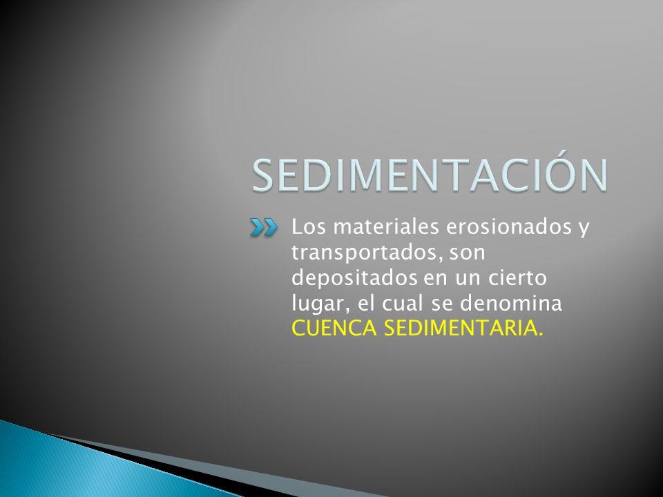 Los materiales erosionados y transportados, son depositados en un cierto lugar, el cual se denomina CUENCA SEDIMENTARIA.