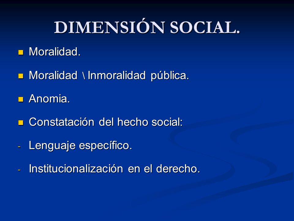 DIMENSIÓN SOCIAL. Moralidad. Moralidad. Moralidad \ Inmoralidad pública. Moralidad \ Inmoralidad pública. Anomia. Anomia. Constatación del hecho socia