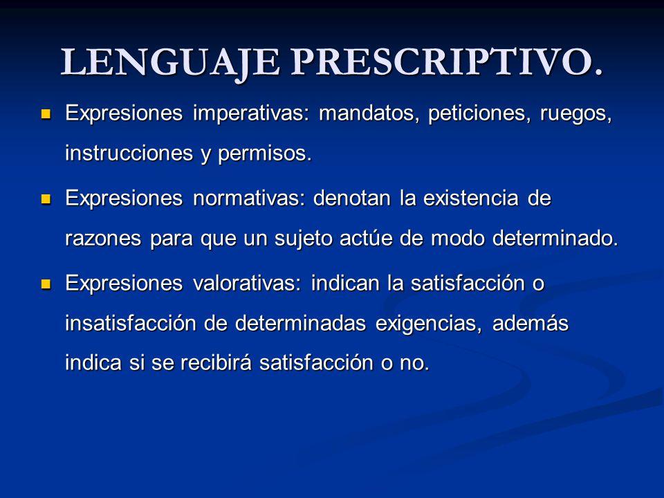 LENGUAJE PRESCRIPTIVO. Expresiones imperativas: mandatos, peticiones, ruegos, instrucciones y permisos. Expresiones imperativas: mandatos, peticiones,