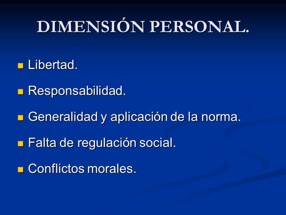 DIMENSIÓN PERSONAL. Libertad. Libertad. Responsabilidad. Responsabilidad. Generalidad y aplicación de la norma. Generalidad y aplicación de la norma.