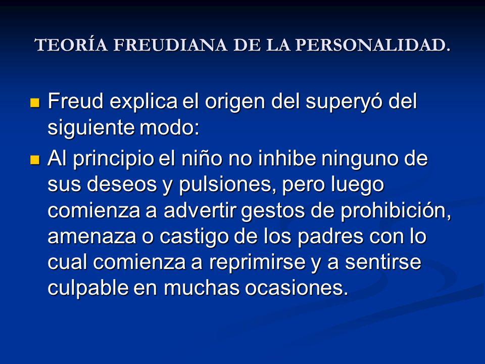 TEORÍA FREUDIANA DE LA PERSONALIDAD. Freud explica el origen del superyó del siguiente modo: Freud explica el origen del superyó del siguiente modo: A