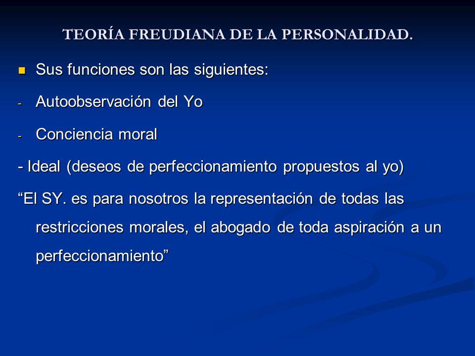 TEORÍA FREUDIANA DE LA PERSONALIDAD. Sus funciones son las siguientes: Sus funciones son las siguientes: - Autoobservación del Yo - Conciencia moral -