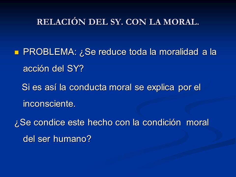 RELACIÓN DEL SY. CON LA MORAL. PROBLEMA: ¿Se reduce toda la moralidad a la acción del SY? PROBLEMA: ¿Se reduce toda la moralidad a la acción del SY? S