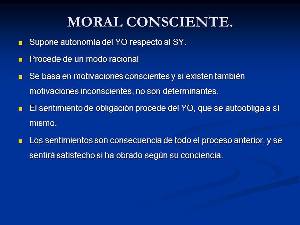 MORAL CONSCIENTE. Supone autonomía del YO respecto al SY. Supone autonomía del YO respecto al SY. Procede de un modo racional Procede de un modo racio