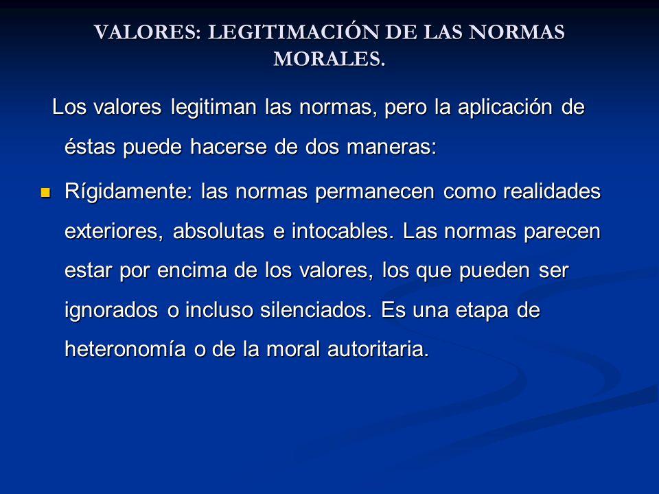 VALORES: LEGITIMACIÓN DE LAS NORMAS MORALES. Los valores legitiman las normas, pero la aplicación de éstas puede hacerse de dos maneras: Los valores l