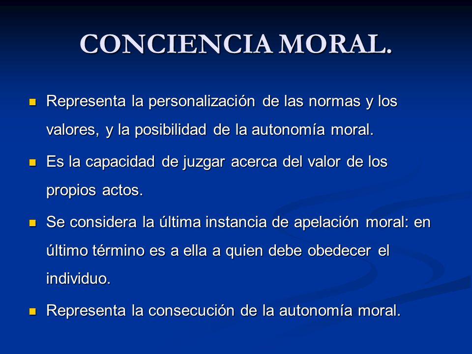 CONCIENCIA MORAL. Representa la personalización de las normas y los valores, y la posibilidad de la autonomía moral. Representa la personalización de