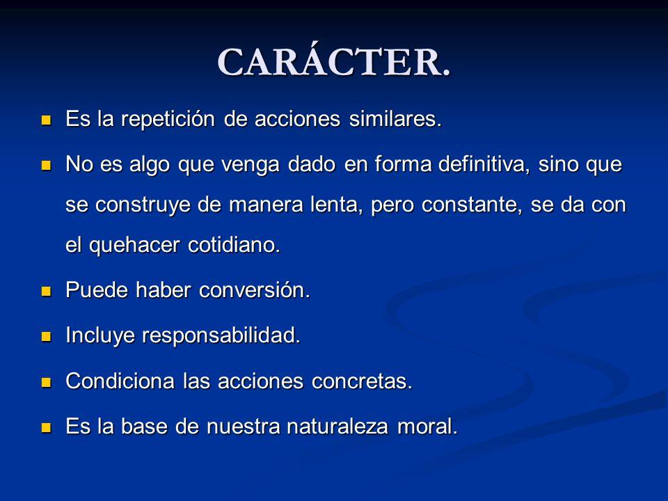 CARÁCTER. Es la repetición de acciones similares. Es la repetición de acciones similares. No es algo que venga dado en forma definitiva, sino que se c