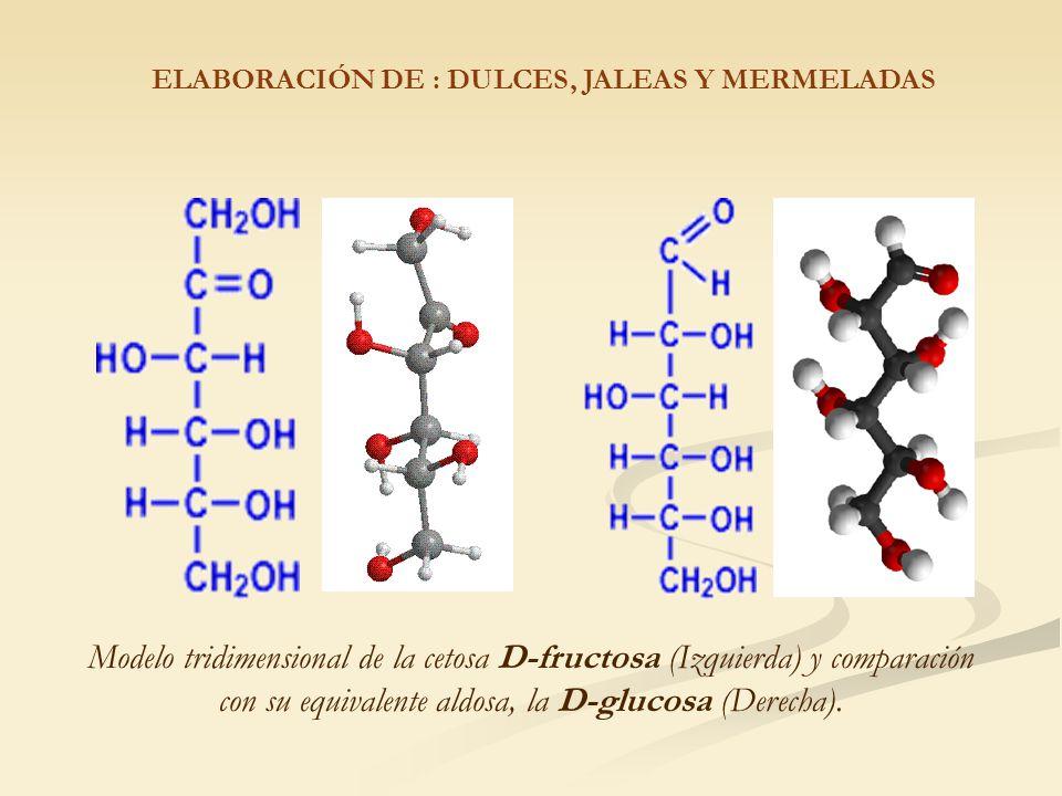 Modelo tridimensional de la cetosa D-fructosa (Izquierda) y comparación con su equivalente aldosa, la D-glucosa (Derecha).